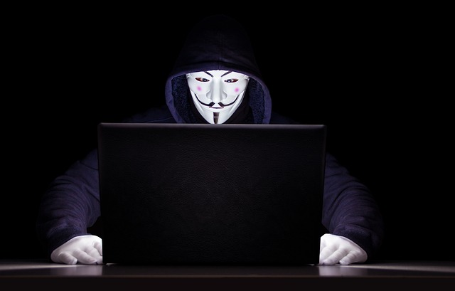 Man behind computer wearing anonymous mask.